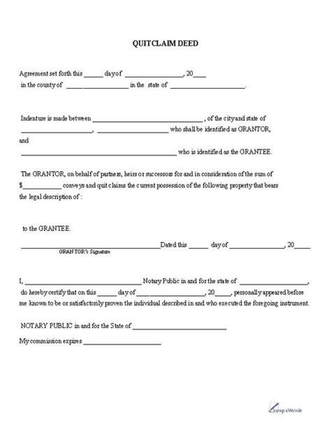 quitclaim deed printable   template sample