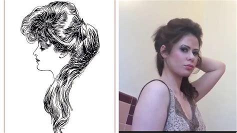 gibson girl edwardian question mark hair tutorial youtube
