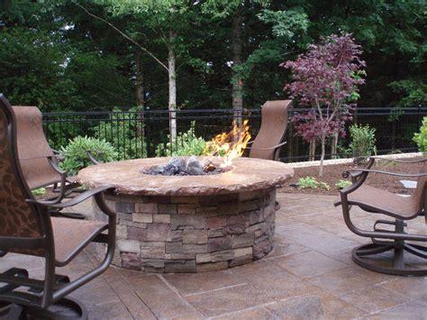 built  gas fire pit  concrete cap  cultured stone