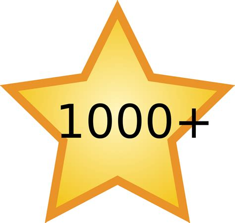 "Fileyellow Star With ""1000+""svg  Wikimedia Commons"