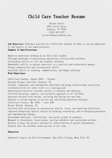 Daycare Resume Objective Exles by Resume Sles Child Care Resume Sle
