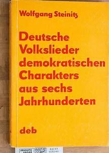 Deutsche Volkslieder Demokratischen Charakters Von Steinitz