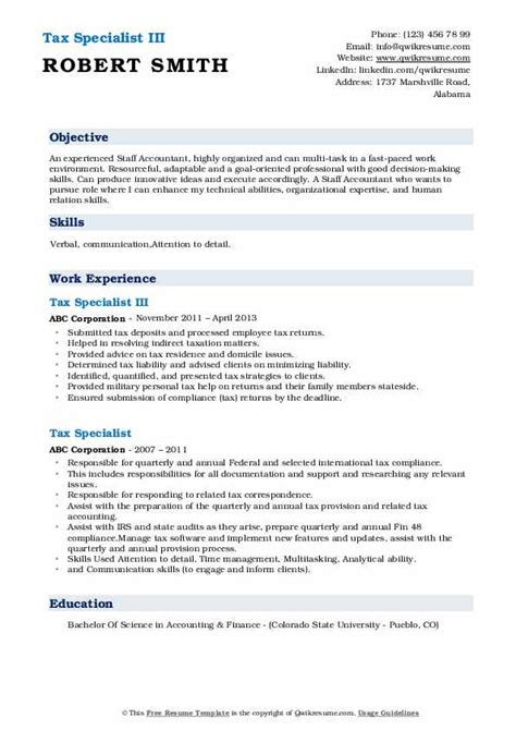 tax specialist resume samples qwikresume