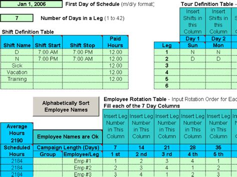 An employee shift scheduling package that including 110 different 12 hour scheduling templates to cover 1, 2 or 3 shifts a day for 6 days a week. Rotating Shift Schedules for Your People 5.12 Download