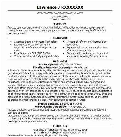chemical operator resume templates best petroleum operator resume exle livecareer