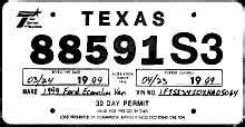 texas temporary license plate dealer license plates