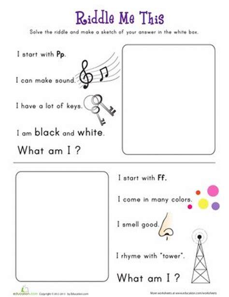riddle    worksheet educationcom reading