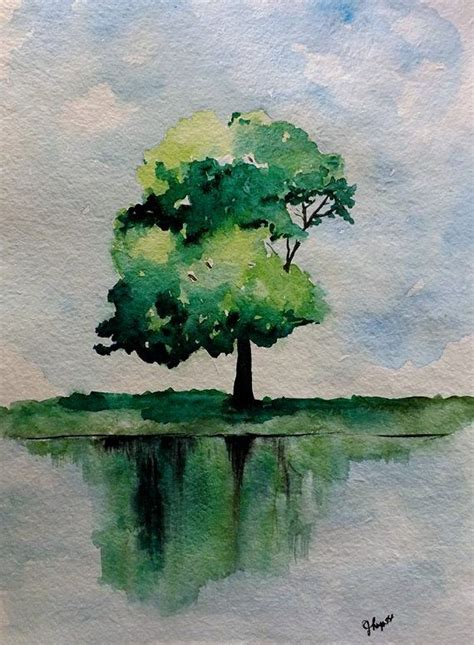 original watercolor green tree painting simple