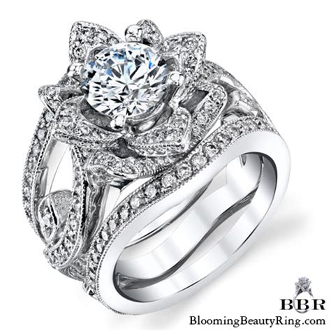 The Large Lotus Swan Double Band Flower Ring Set  Bbr626