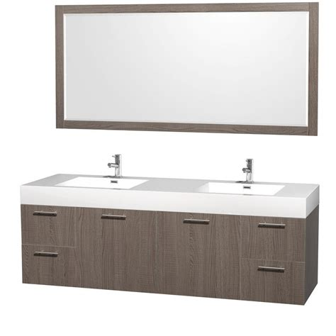 home depot double sink vanity wyndham collection amare 72 in double vanity in grey oak
