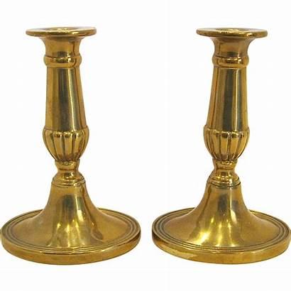 Brass Candlesticks Georgian English Pair Antiquesonascot