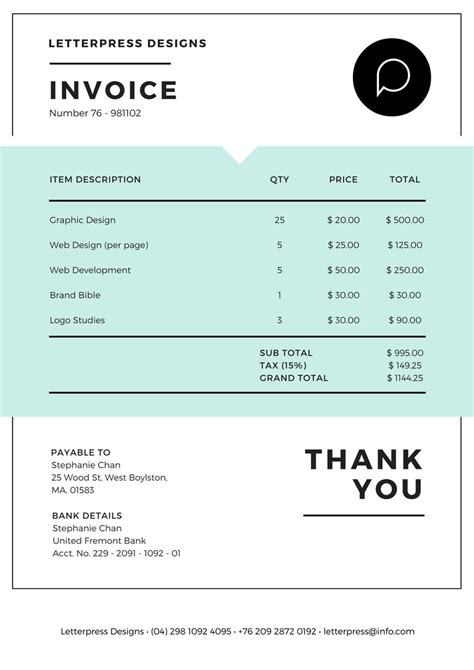 invoice maker design  custom invoice  canva