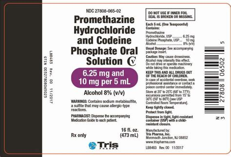 dailymed promethazine hydrochloride  codeine