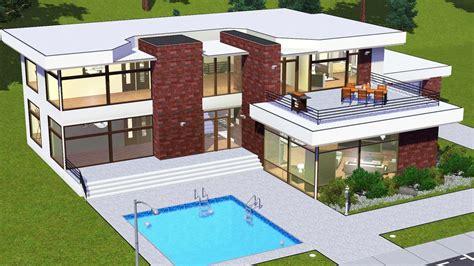 modern house floor plans sims mod white glass house
