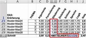 Excel Mittelwert Berechnen : korrektur von deutscharbeiten wird mit excel leichter ~ Themetempest.com Abrechnung