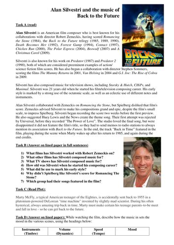 alan silvestri back to the future worksheet by