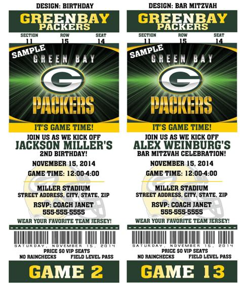 birthday invitation templates ticket 13 printable birthday party invitation card greenbay packers