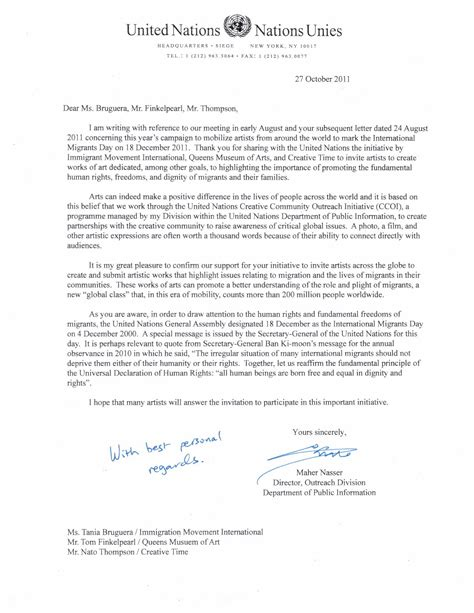 united nations official letter  support  dec