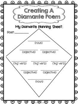 diamante poem template free poetry writing diamante poems by proud to be primary tpt