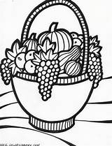 Coloring Basket Fruit Pages Baskets Fruits Drawing Thanksgiving Drawings Adult Colouring Fall Colour Vegetable Sheets Colorful Popular Computer Bowls Vegetables sketch template