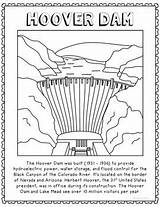 Dam Hoover Coloring Text Poster Craft Informational Geography Activity sketch template