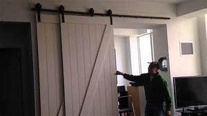 bypass barn door system craig39s room they39re on the With bypass barn doors for closets