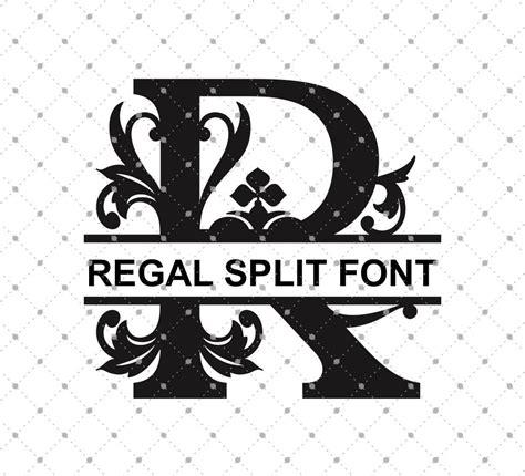 regal split monogram font svg png dxf cut files cricut