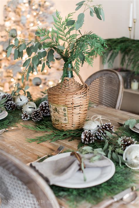 french christmas dining room  evergreen pinecones