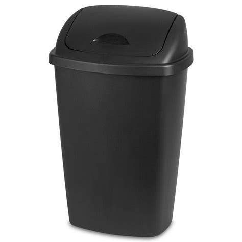 trash   gallon swing lid black indoor kitchen waste