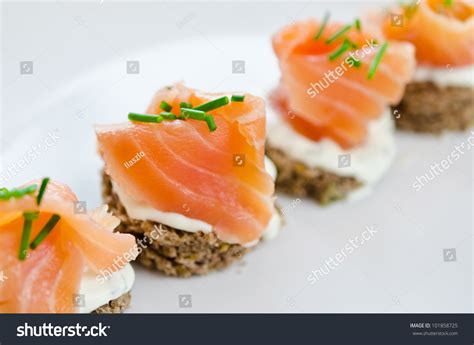canape creme canapes with smoked salmon and cheese stock photo