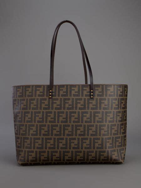 fendi monogram shopper tote  brown lyst