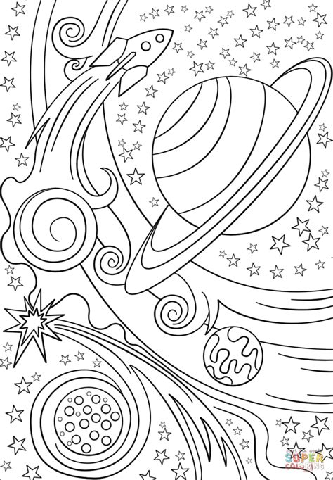 trippy space rocket  planets coloring page