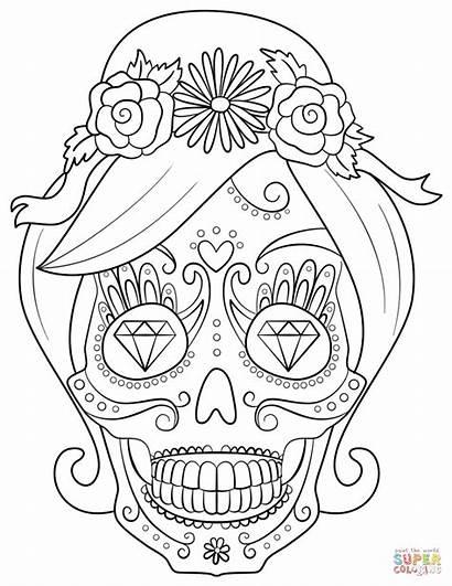 Coloring Skull Sugar Woman Pages Trippy Skulls