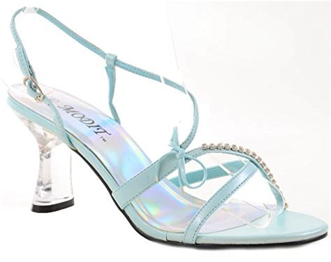 fourever funky clear jeweled strappy blue  heel