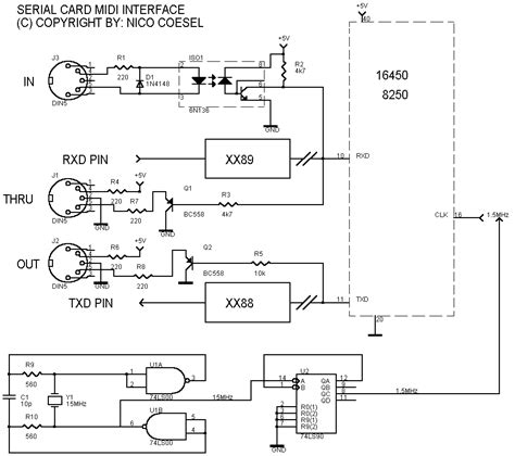 midi interface electronic circuit diagram  layout