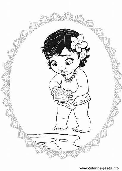 Coloring Princess Moana Pages Printable Info