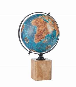 Globe Terrestre En Bois : globe terrestre style ancien bleu base bois ~ Teatrodelosmanantiales.com Idées de Décoration