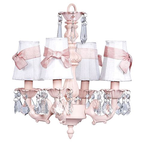white and pink chandelier 4 arm chandelier white shades pink bows the