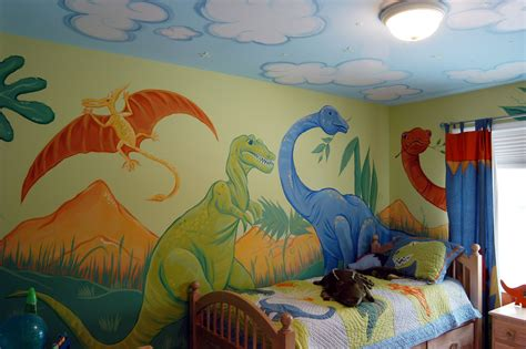 A Friendly Dinosaur Mural And Cloud Ceiling To Compliment