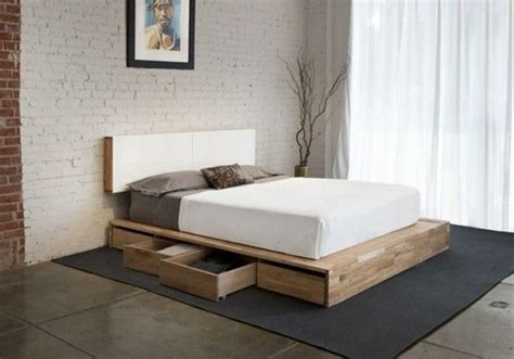 simple bedroom furniture  wooden platform bed frame