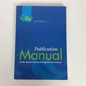 Book Publication Manual Of The American Psychological