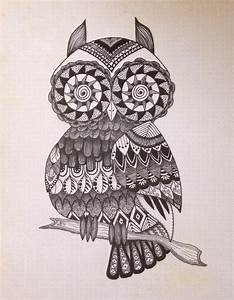 Zentangle owl art / hippie art / 8 X 10 / by SleepyEyeStudio