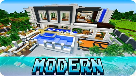 minecraft pe maps modern mansion house   mcpe   youtube