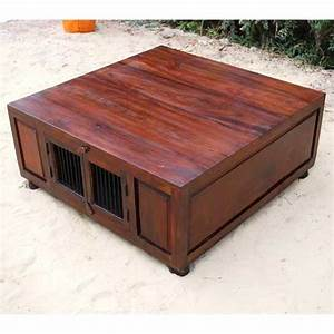 solid wood rustic large square storage trunk cocktail With oversized square wood coffee table
