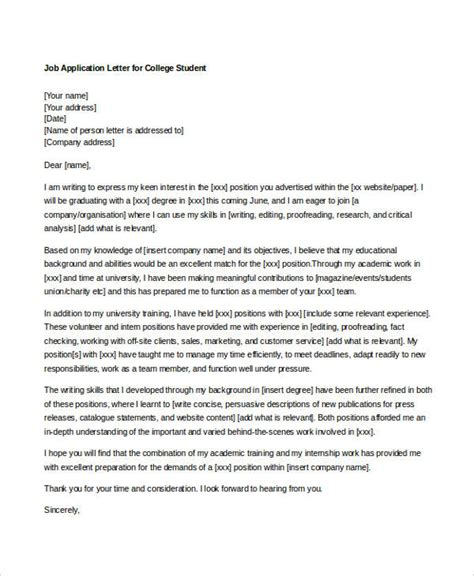 sample job application letters  student