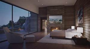 modern bedroom with view by fire light Interior Design