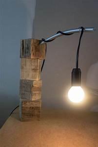 Lampe En Palette : lampe de bureau en palette diy bois de r cup bureau palette palette diy et bois ~ Voncanada.com Idées de Décoration