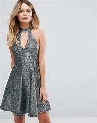 Metallic Skater Dress
