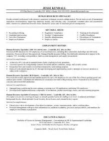 human resources specialist resume exle human resources specialist resume free sle