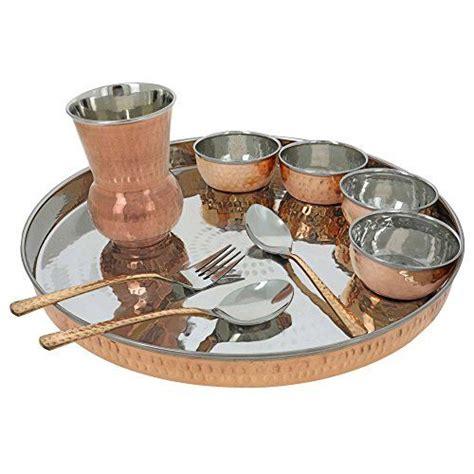 traditional dinner set copper thali  indian dishes service   shalinindia httpwww